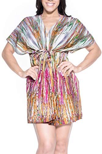 LA LEELA weiche Baumwolle verschleiern Kleid Frauen und Bademode Kaftan Schwimmen Oben Rosa