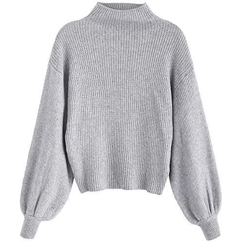 Damen Laterne Ärmel Stehkragen Pullover Einfarbige Bluse Sweatshirt Pulli Langarm Oberteile Fashionable Completi Fashion 2019 Frauen Kleidung (Color : Graue Wolke, Size : Size)