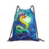 Mochila con cordón para pintura al óleo de dragón chino, gimnasio, senderismo, yoga, natación, viajes, playa, para mujeres y hombres - blanco - talla única