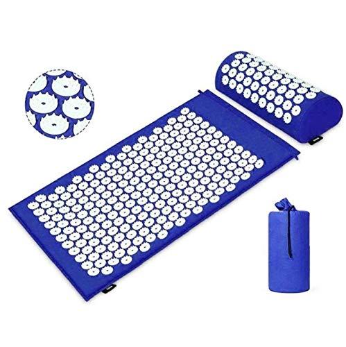 Terapia de acupresión Mat Conjunto Dolor Muscular liberación de tensión de la Estera de la acupuntura para el Amortiguador de la Almohadilla de Masaje de Espalda/Cuello Estuche Azul