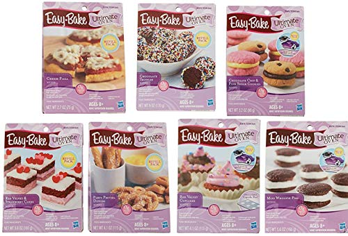 Easy Bake Oven Refills Set of 7 Kits - Truffles, Cakes, Pies, Pretzels, Cookies, Pizza (Great Value)