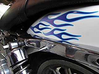 No. 28 - Grape with Glacier Pinstripe -28pc - Old School Flame decals for Motorcycle tank, fenders, helmet