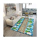 FBJN Nordic Stil 3D Druck Teppich Wohnzimmer Schlafzimmer Nacht Kaffee Tisch Studie Restaurant Matte Kreative Teich und Kieselsteine,3#,160 * 200CM