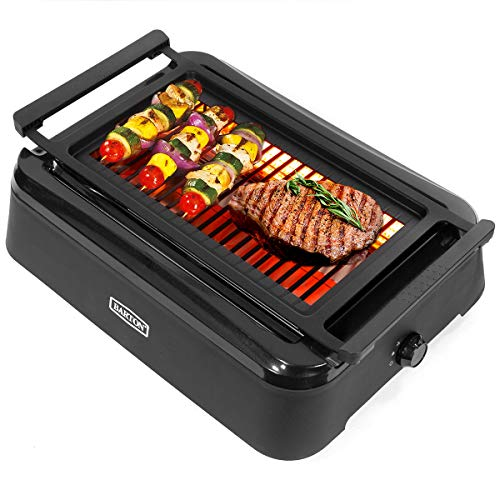 Barton Electric Smokeless Indoor Infrared Instant Heating Adjustable Temperature Knob BBQ Grilling Non-Stick Grate and Drip Tray, Black