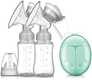 Double Electric Breast Pump With Milk Bottle Infant USB BPA Free Powerful Breast Pumps (Green)