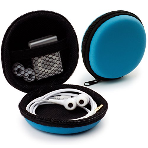 MyGadget Mini Funda Protectora para Auriculares [ In Ear ] - Caja Estuche de Transporte para iPod Shuffle, Airpods, SD Card, Flash Drive USB - Azul