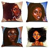 JgZATOA Anime Mujer Africana Fundas De Almohada Funda De Almohada Cojín Hogar Dormitorio Sofá Funda De Cojín Decoración De Coche 45 X 45 Cm Juego De 4
