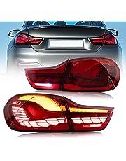 VLAND OLED Achterlichten Compatibel voor B-M-W M4 4 Serie Coupe/Convertible F32 F33 F82 F83 2013-2020 & 4 Gran Coupe F36 2014-2020, w/Sequentiële w/3D Dynamische Animatie Running Dragon Scale Achterlicht