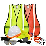 KwikSafety (Charlotte, NC) TURTLE SHELL VEST KIT (10 Vents) Standard Cap ANSI Hard Hat, Safety Glasses, Vests, Tool Lanyard, Sunshade, Sweatband, Earplugs Construction Gear, Type1, Class C, WHITE