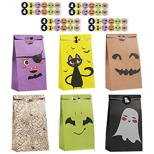 Colmanda Halloween Partytüten, 48 Stücke Halloween Papiertaschen mit Aufklebern, Halloween Candy Party Papier Tüten Geschenke Beutel, Halloween Süßigkeiten Geschenk Taschen für Halloween Supplies