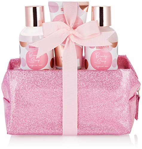 BRUBAKER Cosmetics Bade- und Dusch Set Beauty Sleep Sugared Rose - Rosen Duft - 4-teiliges Geschenkset im praktischen Kulturbeutel - Rosa Roségold