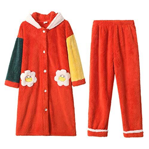 LEYUANA Conjunto de Pijamas de Franela para Mujer, Sudadera con Capucha cálida, Ropa de Dormir, Camisetas de Manga Larga + Pantalones, Ropa de hogar, Ropa de Dormir Suelta de Talla Grande M Color6