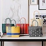 Cesta de la compra de bambú tejida a mano, cesta de la compra, cesta de la compra, cesta de la compra pequeña, cesta de la compra roja