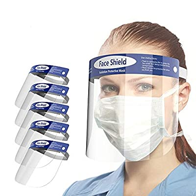 Face Shield-5 Pack, Looflar Anti-Fog Adjustable Full Face Shield with Clear Film Elastic Band and Comfort Sponge