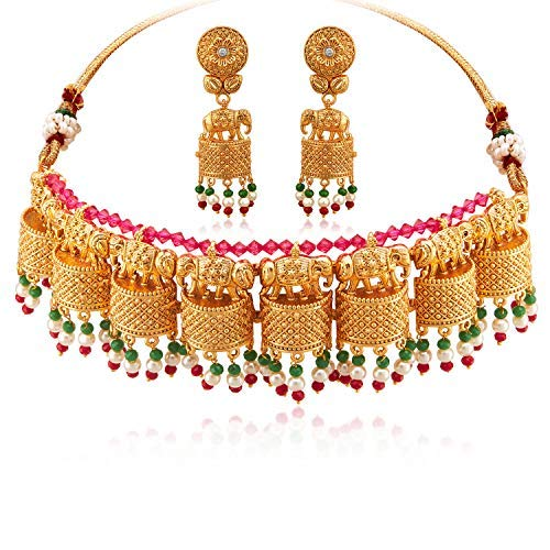 Aheli Stylish Intricate Crafted Traditional Wedding Party Wear Elephant Design Choker Necklace Jhumki Earrings Set Indian Ethnic Fashion Jewelry for Women