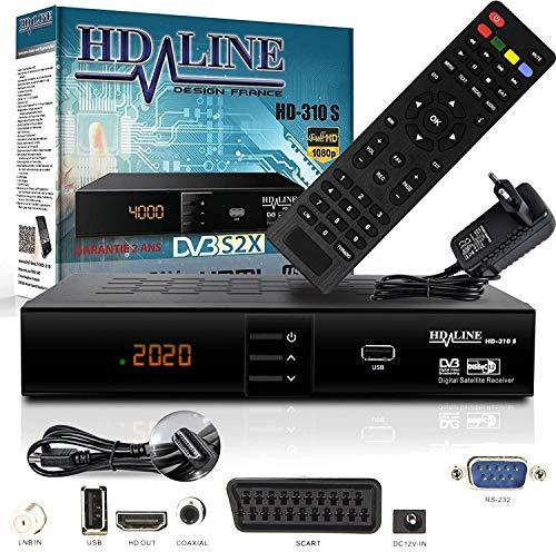 HD-LINE HDMI Receiver Satellit HD Digitaler Satelliten Receiver DVB S2 Receiver für Sat HD HDMI Sat Receiver HDMI HD Receiver Sat Digital für Satelliten für TV , Mit PVR Schwarz + HDMI Kabel