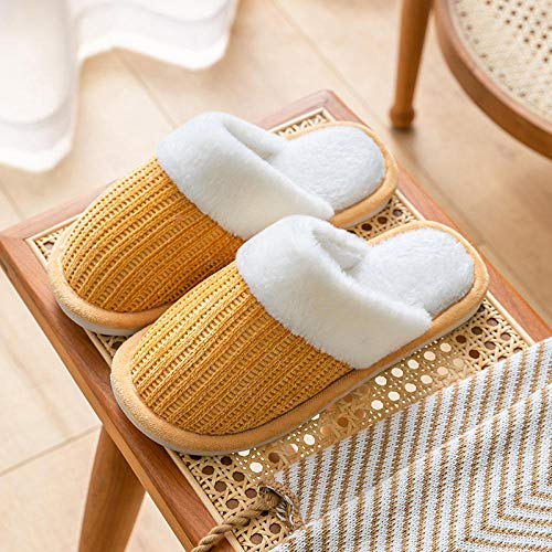 B/H Memory Foam - Zapatilla de casa para Exteriores,Calientes Pantuflas de Felpa Antideslizantes,Zapatos de algodón de Suela Gruesa para Damas-Coral Velvet Beige_42-43, Zapatillas de Felpa Suave