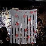 Paquete de 2 cortinas para puerta de Halloween con impresiones de manos sangrientas, oasisblossom Bloody Doorway Cortina espeluznante casa embrujada accesorios decoración horror decoración miedo...