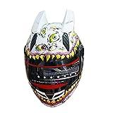 MALUSHUN Full Face Motorcycle Helmet Venom Racing off road Street Helmet With Horns WHITE (L)