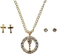 First Communion Jewelry Set Gold Toned Round Chalice Pendant and Cross Earrings