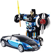 The Flyers Bay One Button Transforming Car into Robot with Cool Dance Features, Blue Bugatti