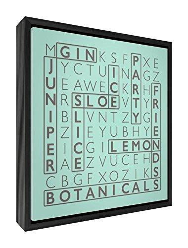 Wordy Art Box Doek met Massief Zwart Houten Frame in Word Zoeken Ontwerp Voor De Gin Lover - 29 x 29 x 2.5cm