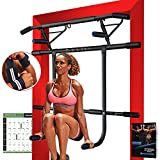 Kaufam Pull Up Bar Doorway with Dip Bar Station Chin Up Bar Doorframe No Screw Hammer Grip Pullup Handles, Home Workout Equipment for Home Gym Indoor Exercise US Invention Patent (with Wrist Straps)
