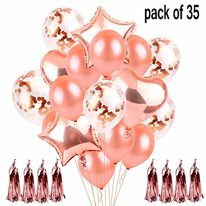 35 Pcs Rose Gold Confetti Balloon Set Balloons Decorations Latex Party Balloons for Weddings, Birthdays, Bridal Shower, Baby Shower, Party Decorations, Valentine's Day, Prom, Holidays 12 Inch 18 Inch