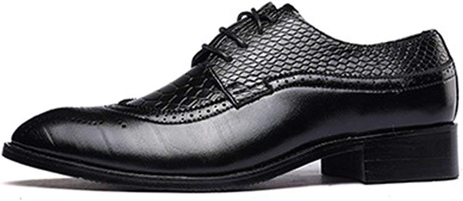 Oudan 2018 Men's PU Leather shoes Cup Splicing Snake Skin Texture Upper Leather Breathable Business Low Top Lined Oxfords (color  Wine, Size  39 EU) (color   Black, Size   44 EU)