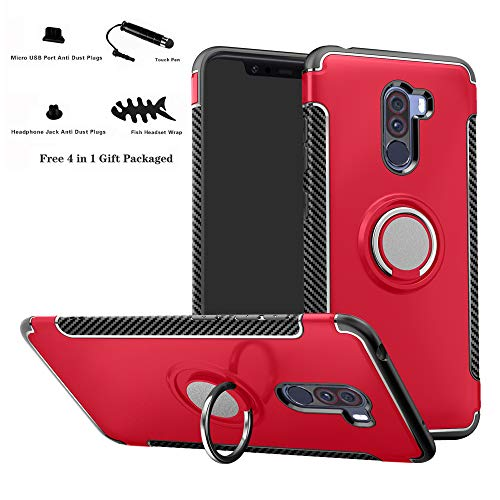 Labanema Xiaomi Pocophone F1 Funda, 360 Rotating Ring Grip Stand Holder Capa TPU + PC Shockproof Anti-rasguños teléfono Caso protección Cáscara Cover para Xiaomi Pocophone F1 - Rojo