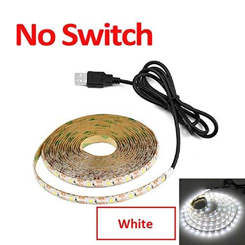 CHUNMA USB 5V DC Lámpara barrido de movimiento LED de retroiluminación LED TV Cocina tira de LED de la mano que agita en OFF sensor de luz de diodo Luces impermeables (Color : No Switch White)