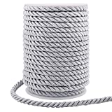 5mm Twisted Cord Trim, 59 Feet Silver Decorative Rope for Curtain Tieback, Upholstery, Honor Cord, Home Decor