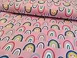 Jersey, Regenbogen auf Rosa als Meterware, 50 cm
