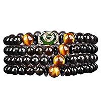 ZHIBO Natürlicher Obsidian-Paar-Armband, natürlicher Regenbogen-Achat, Dzi Perlen, Mondstein-Armband, für Herren und Damen, 6 mm, schwarze Jade