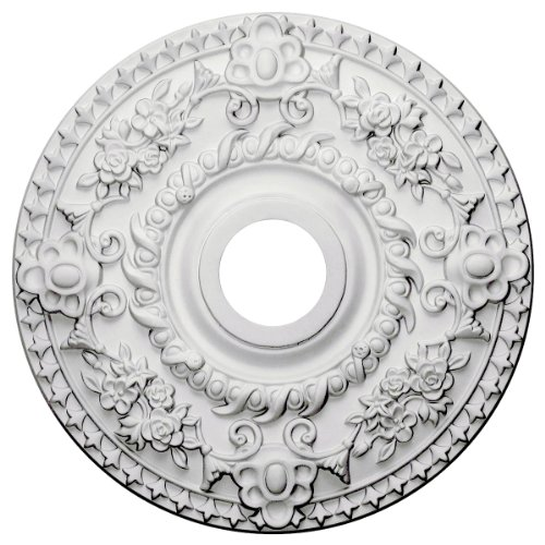 "Ekena Millwork CM18RO Rose Ceiling Medallion, 18""OD x 3 1/2""ID x 1 1/2""P (Fits Canopies up to 7 1/4""), Factory Primed"