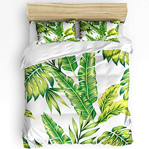Big buy store California King Size 3 Pcs Duvet Cover Sets Tropical Palm Leaves 1 Bedspread 2 Pillow Cases, Lightweight Comforter Cover Set Bedding Decoration for Kids Childrens Adults
