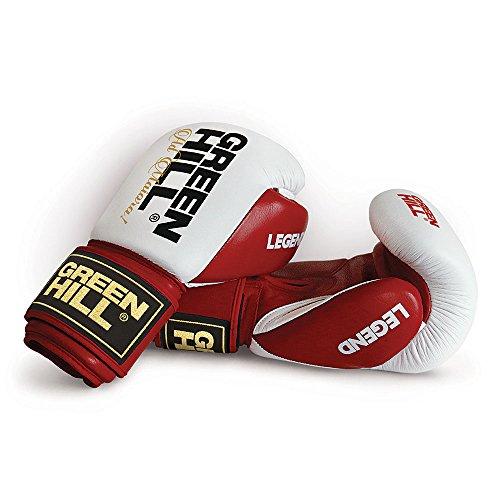 Green Hill Legend Boxhandschuhe aus Leder, Sparring für Erwachsene, Unisex, Unisex, BGL-2246, Weiß/Rot, 14 oz