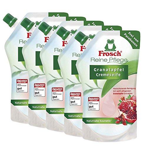 5x Frosch Reine Pflege Granatapfel Cremeseife 500 ml - Nachfüllbeutel