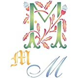 Stencils for Walls - Plantilla para pintar (tamaño 16,51 cm de ancho x 20,32 cm de alto), diseño de letra M