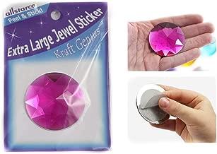 KraftGenius Allstarco 50mm Extra Large Self Adhesive Round Jewels Acrylic Rhinestones Stick On Plastic Gems for Cosplay - 2 Pieces (Pink Fuchsia H108)