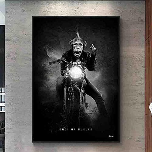 SXXRZA Imagen del Cartel Carreras de Motos Mono Divertido Animal en Blanco y Negro Arte de la Pared Impresiones de Carteles Sala de Estar decoración del hogar 60x80 cm sin Marco