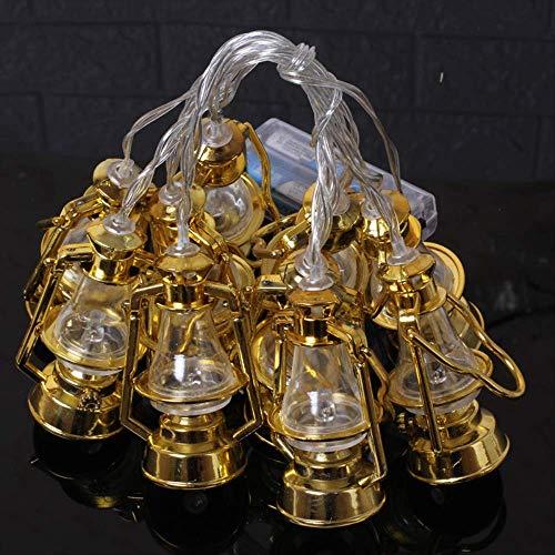 SYJFDC Lichtsnoer Eid Al-Fitr Halloween batterijdoos olielamp, lantaarns decoratieve lantaarns 3 m 20 lampen en knipperlicht lamp voor olie, goudkleurig, warm wit licht