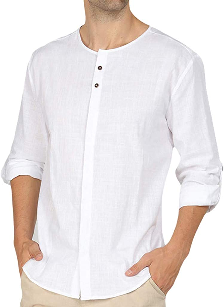 Holzkary Men's Fashion Linen Quick Dry Shirt Casual Long Sleeve Solid Color Button Up Shirts Round Neck Tops