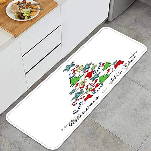 ZHIMI Alfombra de Cocina Antideslizante,árbol,Dulces,Navidad,calcetín,Copo de Nieve,Postal,Estera de Cocina Felpudos Decorativo Alfombra para Dormitorio Baño Pasillo 45 x 120cm
