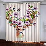 WLHRJ Cortina Opaca en Cocina el Salon dormitorios habitación Infantil 3D Impresión Digital Ojales Cortinas termica - 140x160 cm - Alce de Flores Acuarela