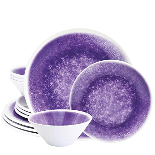 bzyoo BPA-Free Dishwasher Safe 100% Melamine Designed Plate Set Best for Indoor and Outdoor Party (12 PCS Dinnerware set, Service for 4, Reactive Purple)
