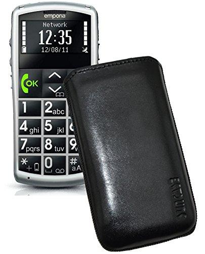 Suncase ECHT Ledertasche Leder Etui für Swisstone BBM 410 Tasche (Lasche mit Rückzugfunktion) in schwarz