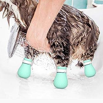 HEEPDD 4pcs Chat Bottes Anti-Rayures, Silicone Pied de Bain Couverture de Pied de Chat réglable Chaussures de Protection de Patte de Chat pour la Maison de Bain Rasage vérification de Traitement
