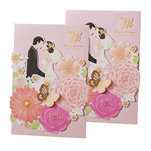 Gold Fortune 50 paquetes de invitaciones de boda cortadas con láser con tarjetas RSVP y sobres para regalos de fiesta, YC073., 1