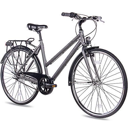 CHRISSON 28 Zoll Citybike Damen - City One anthrazit matt 53 cm - Damenfahrrad mit 3 Gang Shimano Nexus Nabenschaltung - praktisches Cityfahrrad für Frauen